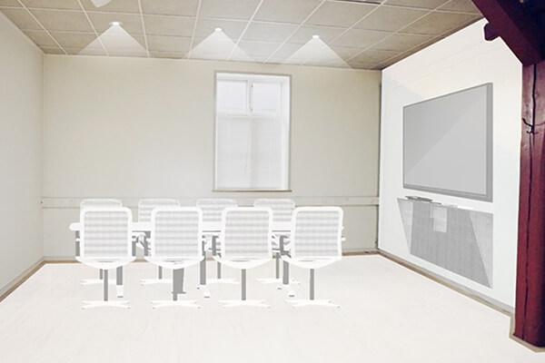 Oprindelig tegning af Mødelokalet i Remisen. Illustreret af Willmedia ApS